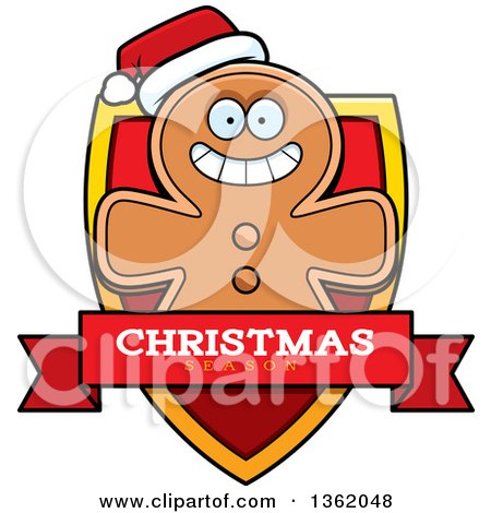 Clipart of a Gingerbread Cookie Man on a Shield with a Christmas Season Text Banner - Royalty Free Vector Illustration by Cory Thoman