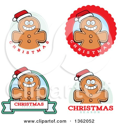 Clipart of Gingerbread Cookie Badges - Royalty Free Vector Illustration by Cory Thoman