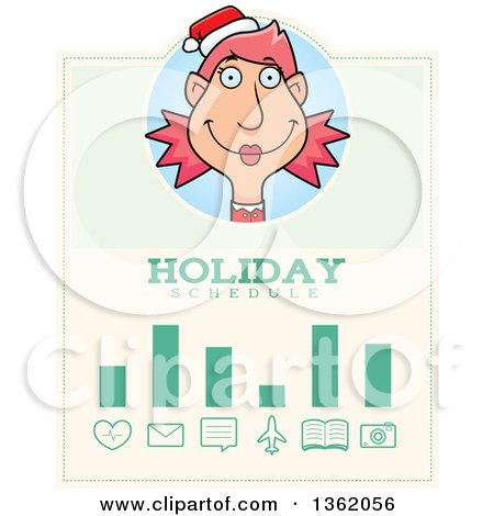Clipart of a Female Christmas Elf Holiday Schedule Design - Royalty Free Vector Illustration by Cory Thoman