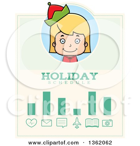 Clipart of a Girl Christmas Elf Holiday Schedule Design - Royalty Free Vector Illustration by Cory Thoman