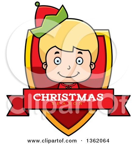 Clipart of a Boy Christmas Elf Shield with a Christmas Season Banner - Royalty Free Vector Illustration by Cory Thoman