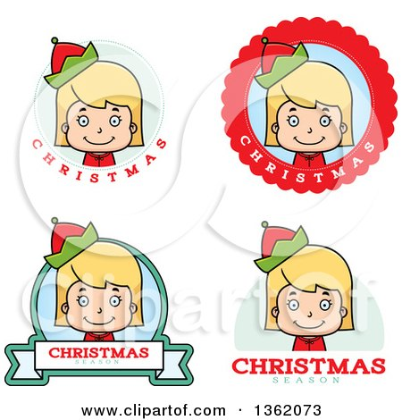 Clipart of Girl Christmas Elf Badges - Royalty Free Vector Illustration by Cory Thoman