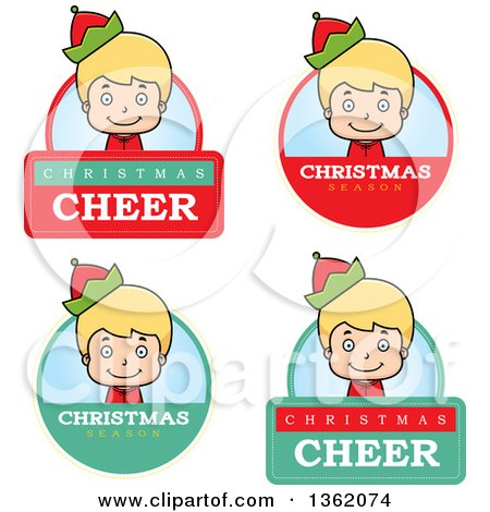 Clipart of Boy Christmas Elf Badges - Royalty Free Vector Illustration by Cory Thoman