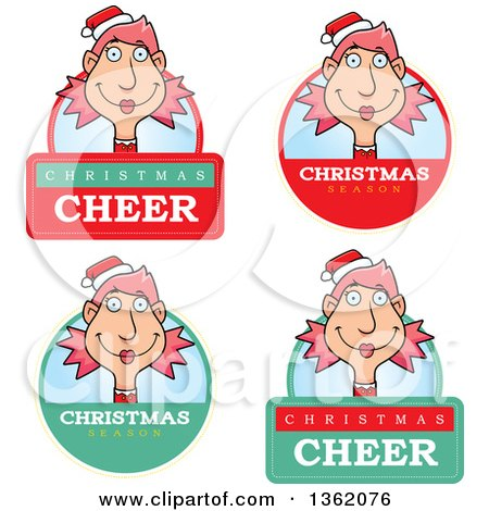 Clipart of Female Christmas Elf Badges - Royalty Free Vector Illustration by Cory Thoman