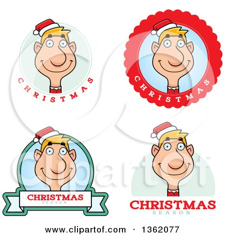 Clipart of Male Christmas Elf Badges - Royalty Free Vector Illustration by Cory Thoman