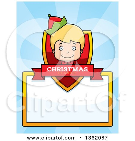 Clipart of a Boy Christmas Elf Shield with a Christmas Season Banner and Blank Sign over Blue Rays - Royalty Free Vector Illustration by Cory Thoman