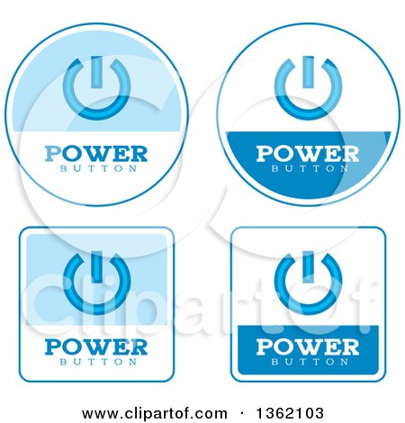Clipart of Blue and White Power Button Icons - Royalty Free Vector Illustration by Cory Thoman