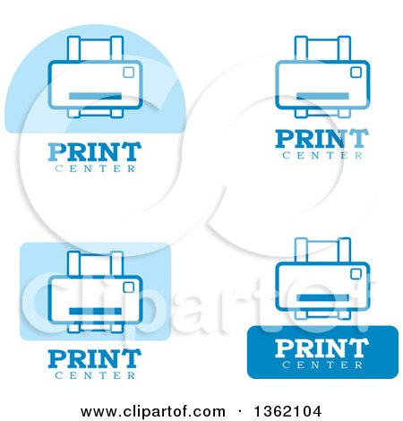 Clipart of Blue and White Print Icons - Royalty Free Vector Illustration by Cory Thoman