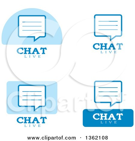 Clipart of Blue and White Live Chat Icons - Royalty Free Vector Illustration by Cory Thoman