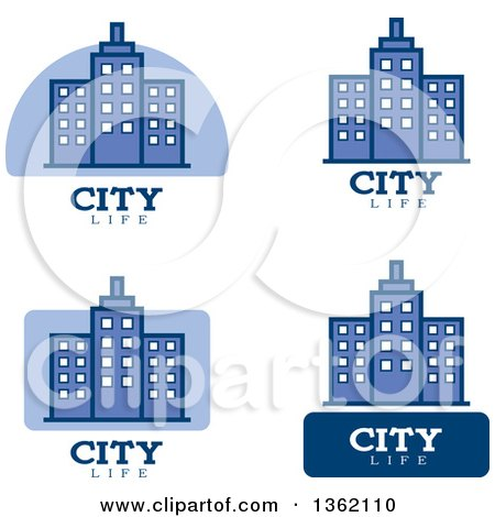 Clipart of Blue and White City Life Icons - Royalty Free Vector Illustration by Cory Thoman