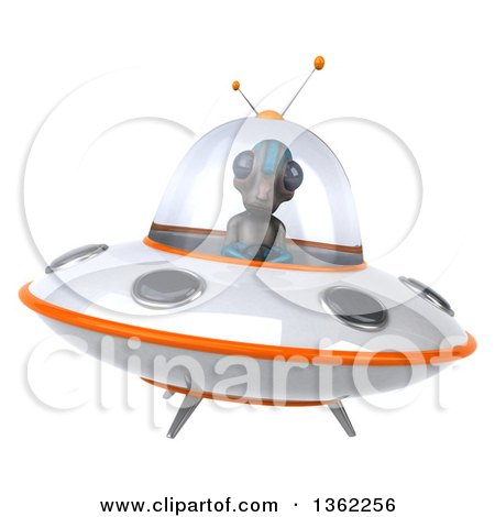 Clipart of a 3d Alien Flying a Ufo, on a White Background - Royalty Free Illustration by Julos