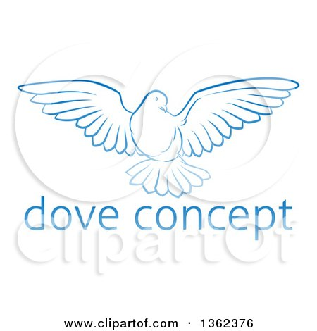 Clipart of a Gradient Blue Dove Flying over Sample Text - Royalty Free Vector Illustration by AtStockIllustration