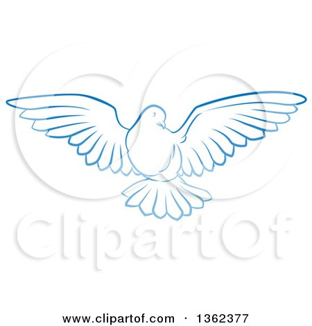 Clipart of a Gradient Blue Dove Flying - Royalty Free Vector Illustration by AtStockIllustration