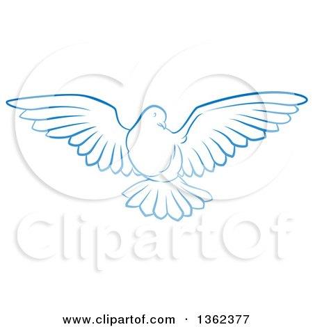 Gradient Blue Dove Flying Posters, Art Prints