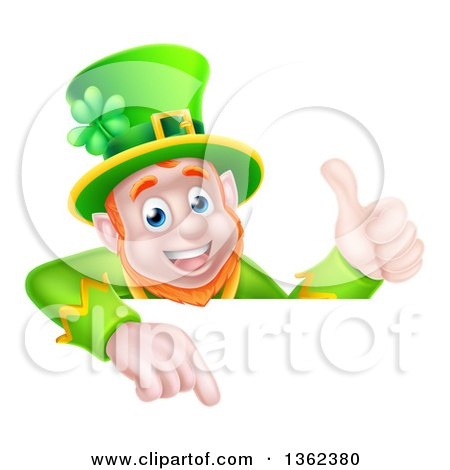Clipart of a Cartoon Happy St Patricks Day Leprechaun Giving a Thumb up and Pointing down over a Sign - Royalty Free Vector Illustration by AtStockIllustration