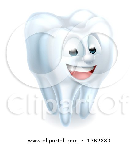 Clipart of a 3d Happy White Tooth Character - Royalty Free Vector Illustration by AtStockIllustration