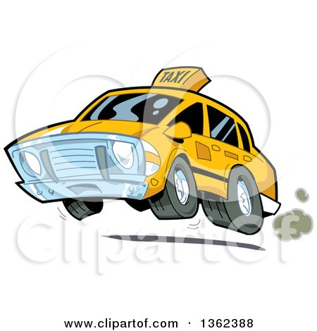 Clipart of a Cartoon Taxi Cab Speeding and Catching Air - Royalty Free Vector Illustration by Clip Art Mascots
