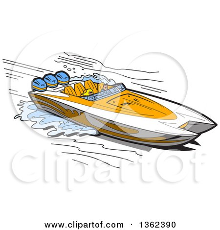 Clipart of a Cartoon Couple in a White and Orange Speed Boat - Royalty Free Vector Illustration by Clip Art Mascots