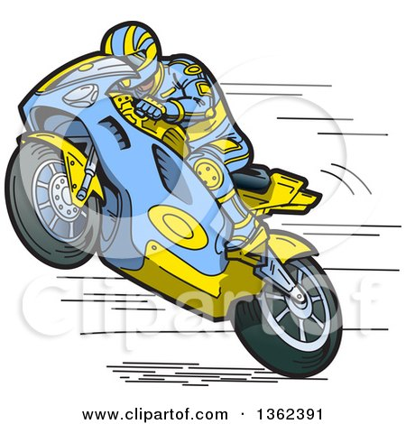 Clipart of a Cartoon Man Wearing a Matching Suit and Racing a Blue and Yellow Motorcycle - Royalty Free Vector Illustration by Clip Art Mascots