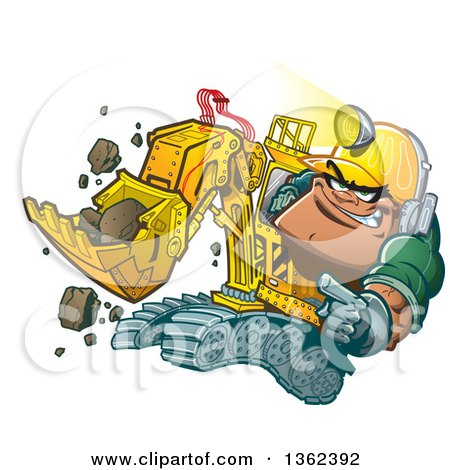 Clipart of a Cartoon White Male Backhoe Operator Construction Worker Wearing a Helmet Lamp - Royalty Free Vector Illustration by Clip Art Mascots