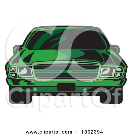 Clipart of a Front View of a Cartoon Green Sports Car - Royalty Free Vector Illustration by Clip Art Mascots