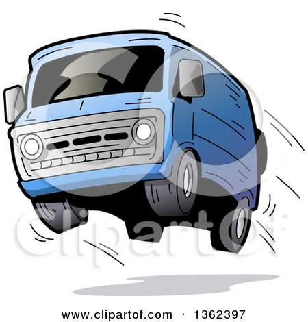 Clipart of a Cartoon Blue Van with Dark Window Tint, Catching Air and Flying off of the Road - Royalty Free Vector Illustration by Clip Art Mascots