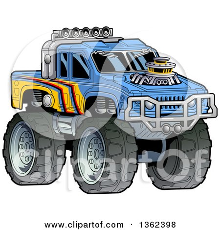 Clipart of a Cartoon Tough Blue and Yellow Monster Truck - Royalty Free Vector Illustration by Clip Art Mascots