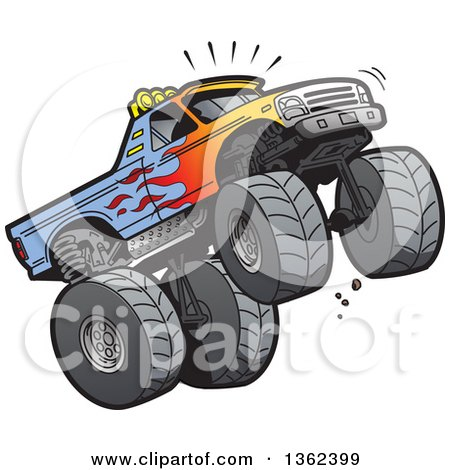 Clipart of a Cartoon Monster Truck with Flame Paint, Doing a Wheelie or Jumping - Royalty Free Vector Illustration by Clip Art Mascots