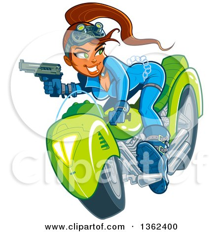 Clipart of a Cartoon Sexy Red Haired White Spy Girl Holding a Gun, Riding a Motorcycle and Engaged in a Chase - Royalty Free Vector Illustration by Clip Art Mascots