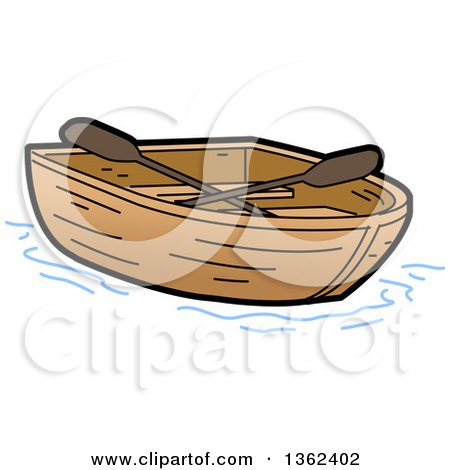 Clipart Of A Cartoon Empty Wooden Row Boat