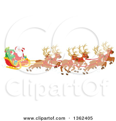 Clipart of a Team of Magic Flying Reindeer and Santa in His Sleigh - Royalty Free Vector Illustration by Alex Bannykh