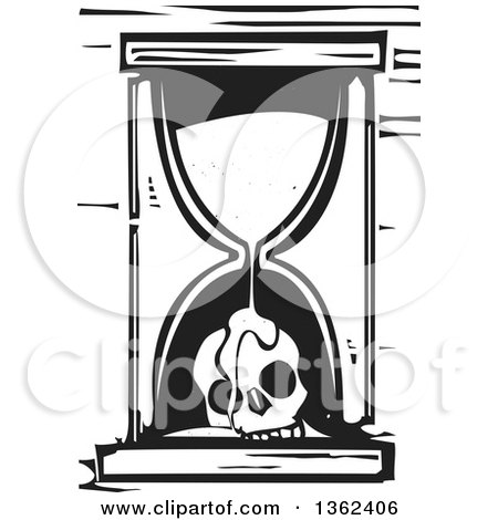 Clipart of a Black and White Woodcut Hourglass with Sand Flowing over a Skull - Royalty Free Vector Illustration by xunantunich