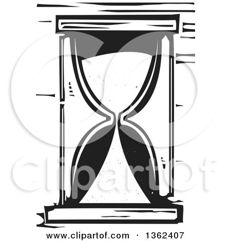 Clipart of a Black and White Woodcut Hourglass - Royalty Free Vector Illustration by xunantunich