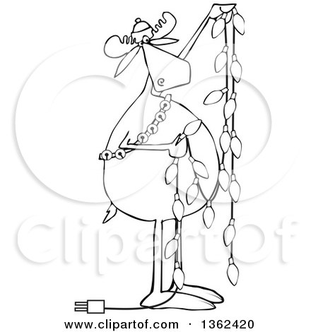 Clipart Of A Cartoon Black And White Festive Moose Hanging Christmas Lights