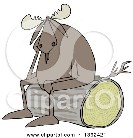 Clipart of a Cartoon Depressed Moose Sitting on a Log - Royalty Free Vector Illustration by djart