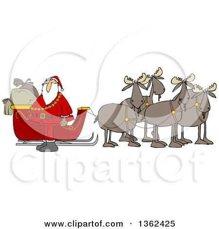 Clipart Of A Team Of Moose Ready To Pull Santas Christmas Sleigh Royalty Free Vector Illustration