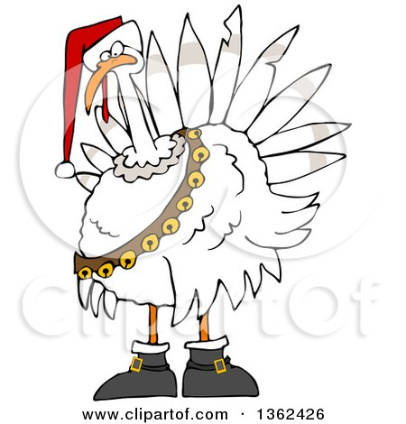 Clipart of a Cartoon White Christmas Turkey Bird Wearing a Santa Hat and Bell Sash - Royalty Free Vector Illustration by djart