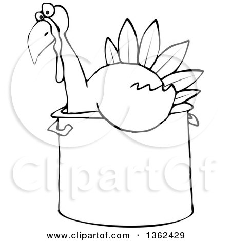 Clipart of a Cartoon Black and White Thanksgiving Turkey Bird Sitting in a Pot - Royalty Free Vector Illustration by djart