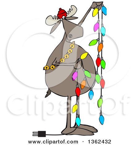 Clipart of a Cartoon Festive Moose Hanging Christmas Lights - Royalty Free Vector Illustration by djart