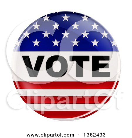 3d Shiny American Flag Vote Button, on a White Background Posters, Art Prints