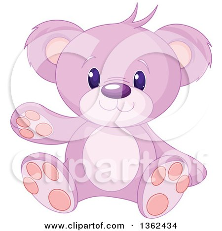 Clipart of a Cute Pink and Purple Teddy Bear Sitting and Waving - Royalty Free Vector Illustration by Pushkin