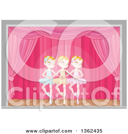 Clipart of Graceful Caucasian Girls Dancing Swan Lake Ballet on Stage - Royalty Free Vector Illustration by Pushkin