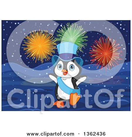 Clipart of a Cute New Year Penguin Wearing a Blue Top Hat and Sash Under Fireworks in the Snow - Royalty Free Vector Illustration by Pushkin