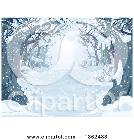 Clipart of a Background of a Snow Covered Tree Lined Driveway or Forest - Royalty Free Vector Illustration by Pushkin
