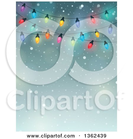 Clipart of a Background of Colorful Christmas Lights over Snow and Text Space - Royalty Free Vector Illustration by visekart