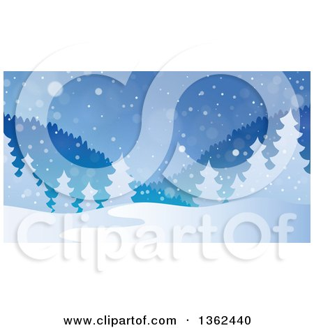 Clipart of a Background of Snow Falling over Mountains and Evergreen Trees - Royalty Free Vector Illustration by visekart