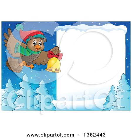 Clipart of a Cartoon Christmas Owl Wearing a Winter Scarf and Hat, Flying over a Snow Covered Forest and Sign While Ringing a Bell - Royalty Free Vector Illustration by visekart