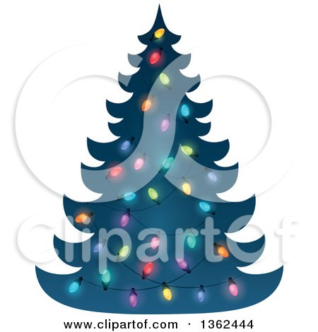 Clipart of a Silhouetted Christmas Tree with Colorful Lights - Royalty Free Vector Illustration by visekart