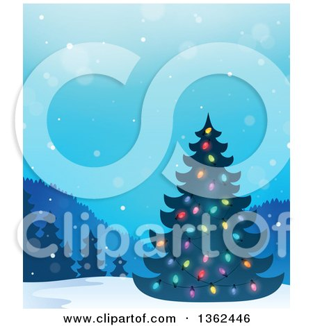Clipart of a Silhouetted Christmas Tree with Colorful Lights in a Winter Landscape - Royalty Free Vector Illustration by visekart