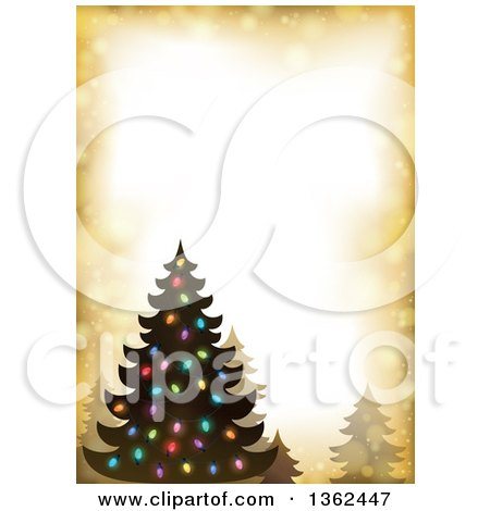Clipart of a Silhouetted Christmas Tree with Colorful Lights on a Golden Flare Border - Royalty Free Vector Illustration by visekart